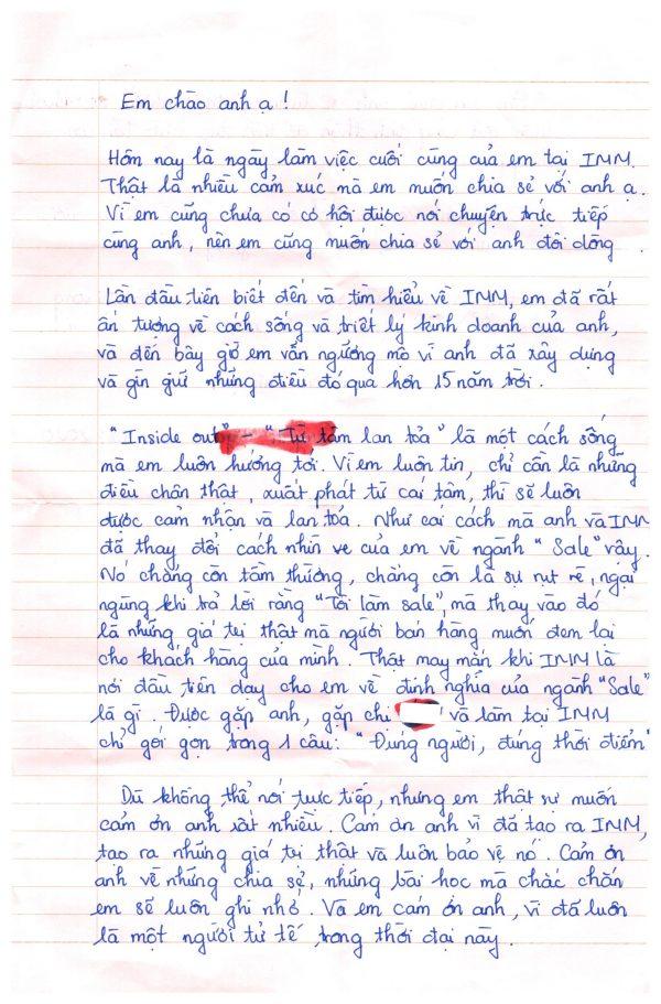 Tony Tỉnh Trần - Bức thư của nhân viên